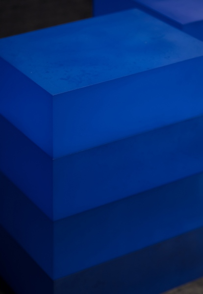 Blocks (Blue, Blue, Blue on Blue), 2018 / hand-dyed acrylic / 28 x 21 x 40(h) cm