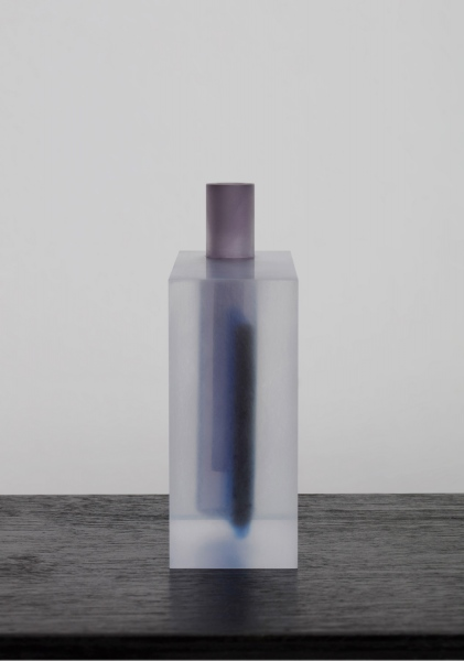 Block(Black, Deep Sky Blue and Violet) / vase / acrylic / 15.5 x 6 x 16(h) cm