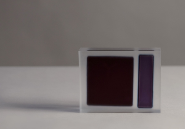 Block (Smoky Black and Violet) / acrylic / 20 x 5 x 14(h)cm